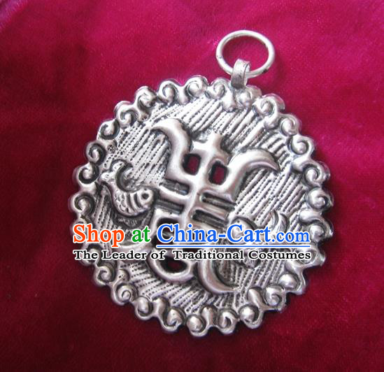Chinese Miao Sliver Ornaments Carving Longevity Lock Necklace Traditional Hmong Sliver Pendant for Women