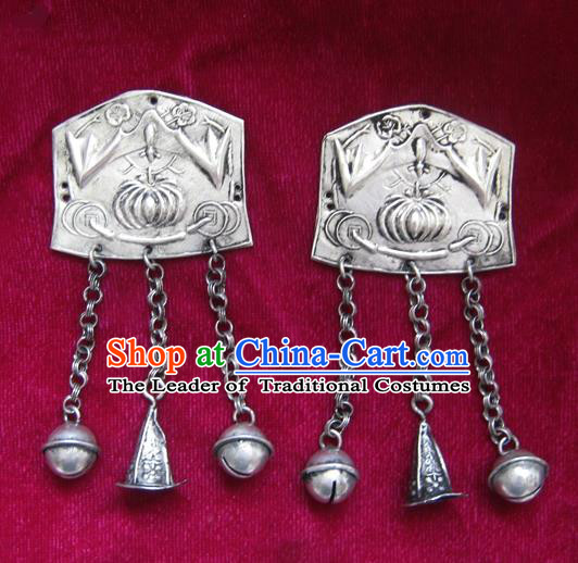 Chinese Miao Sliver Ornaments Carving Longevity Lock Pendant Traditional Hmong Sliver Necklace for Women