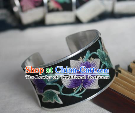 Chinese Miao Sliver Ornaments Black Bracelet Traditional Hmong Handmade Sliver Embroidered Bangle for Women