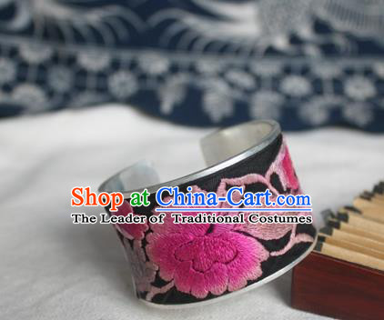 Chinese Miao Sliver Ornaments Bracelet Traditional Hmong Handmade Sliver Embroidered Peony Bangle for Women