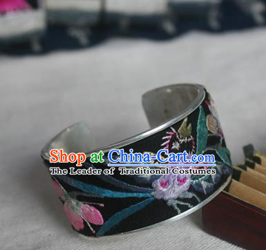 Chinese Miao Sliver Ornaments Bracelet Traditional Hmong Handmade Sliver Embroidered Phalaenopsis Bangle for Women