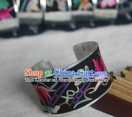 Chinese Miao Sliver Ornaments Embroidered Bracelet Traditional Hmong Handmade Sliver Bangle for Women