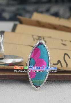 Chinese Traditional Miao Sliver Ornaments Willow Leaf Ring Traditional Hmong Embroidered Blue Rings for Women