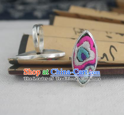 Chinese Traditional Miao Sliver Embroidered Willow Leaf Ring Traditional Hmong Rings for Women