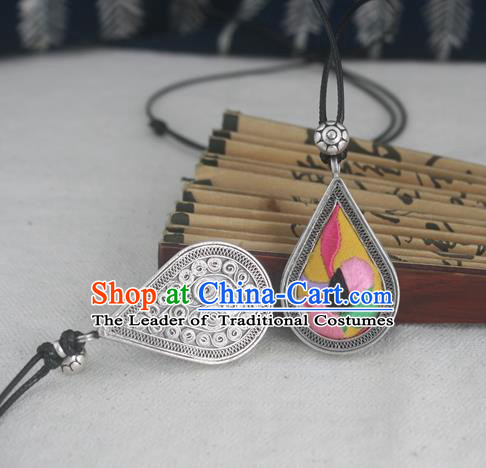 Chinese Traditional Miao Sliver Embroidered Yellow Necklace Traditional Hmong Necklet for Women