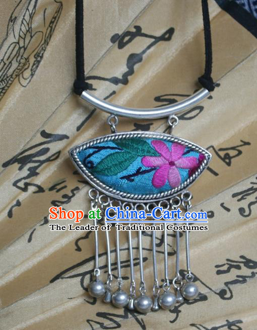 Chinese Traditional Miao Sliver Embroidered Necklace Traditional Hmong Sweater Chain for Women