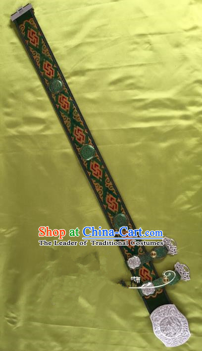 Traditional Chinese Mongol Nationality Waistband Mongolian Robe Green Belts for Men