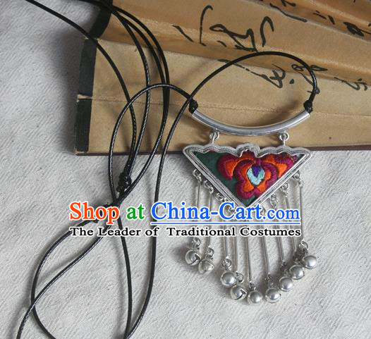 Chinese Miao Sliver Bells Tassel Sweater Chain Ornaments Traditional Hmong Embroidered Peony Necklace for Women