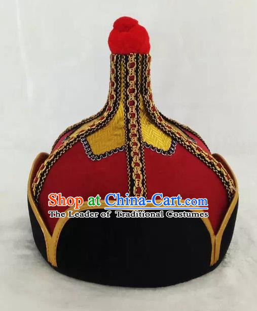 Chinese Traditional Mongol Stage Performance Red Hats, Mongolian Folk Dance Headwear for Men