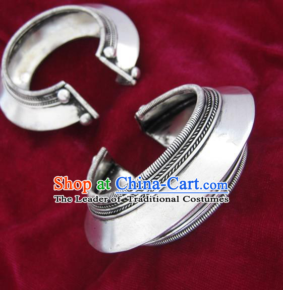 Chinese Miao Sliver Ornaments Bracelet Traditional Hmong Handmade Sliver Bangle for Women