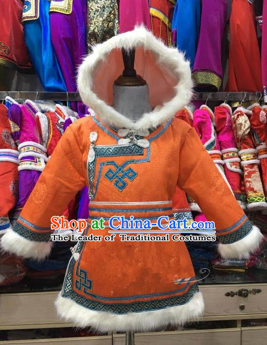Chinese Traditional Girls Orange Mongolian Robe, China Mongolian Minority Folk Dance Ethnic Costume for Kids