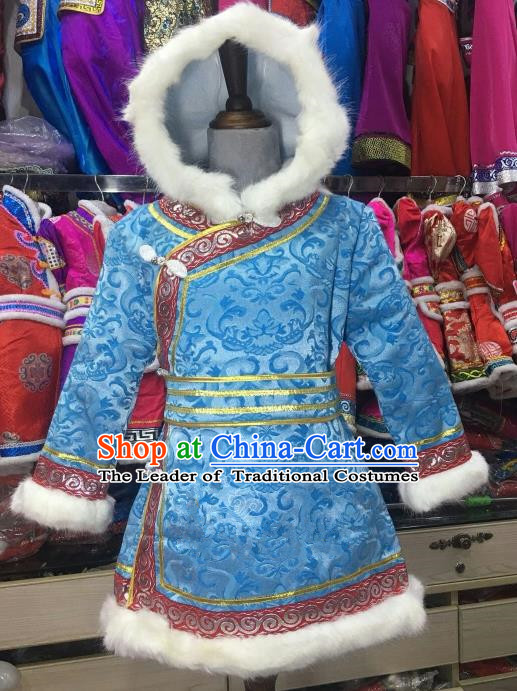 Chinese Traditional Mongol Nationality Girls Blue Mongolian Robe, China Mongolian Minority Folk Dance Ethnic Costume for Kids
