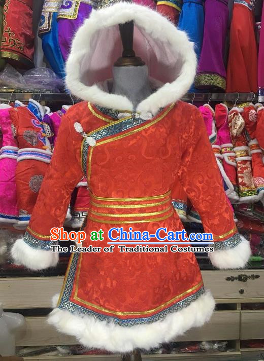 Chinese Traditional Mongol Nationality Girls Red Mongolian Robe, China Mongolian Minority Folk Dance Ethnic Costume for Kids