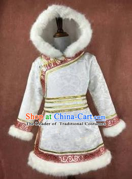 Chinese Traditional Mongol Nationality Girls White Mongolian Robe, China Mongolian Minority Folk Dance Ethnic Costume for Kids