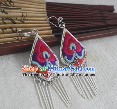 Traditional Chinese Miao Sliver Embroidered Rosy Flower Earrings Ornaments Hmong Sliver Eardrop for Women