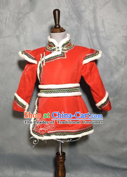 Chinese Traditional Mongol Nationality Boys Red Mongolian Robe, China Mongolian Minority Folk Dance Ethnic Costume for Kids