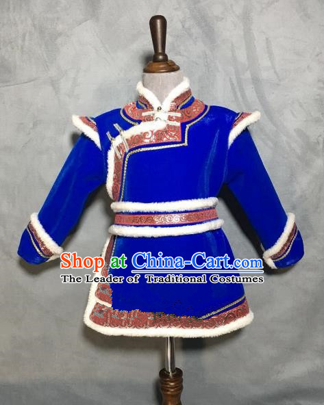 Chinese Traditional Mongol Nationality Boys Royalblue Mongolian Robe, China Mongolian Minority Folk Dance Ethnic Costume for Kids