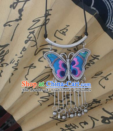 Chinese Miao Sliver Traditional Embroidered Blue Butterfly Necklace Hmong Ornaments Minority Headwear for Women