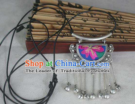 Chinese Miao Sliver Traditional Embroidered Necklace Hmong Ornaments Minority Headwear for Women