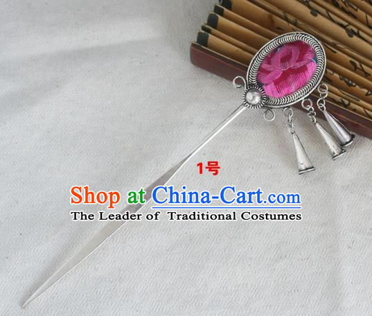 Traditional Chinese Miao Nationality Embroidered Pink Hair Clip Hanfu Sliver Hairpins Hair Accessories for Women