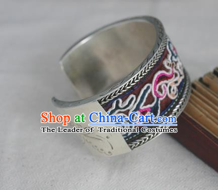 Handmade Chinese Miao Sliver Ornaments Embroidered Bracelet Traditional Hmong Sliver Bangle for Women