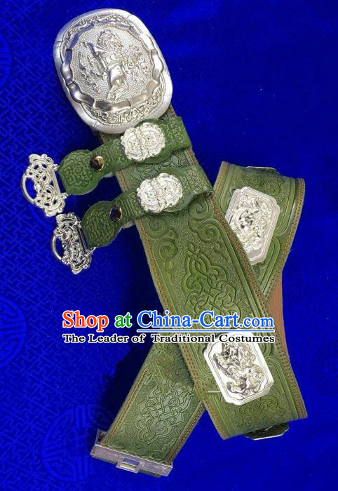 Traditional Chinese Mongol Nationality Waistband Mongolian Robe Green Leather Belts for Men