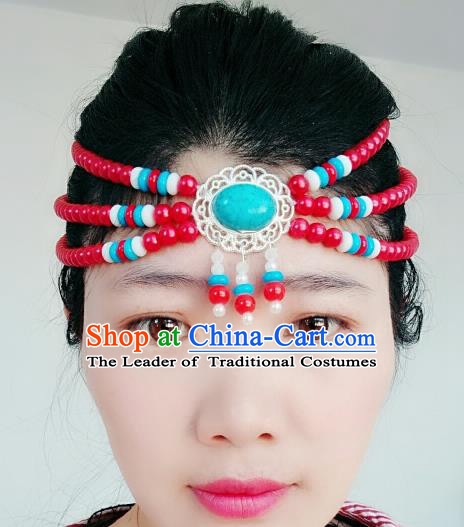 Chinese Traditional Mongol Stage Performance Tassel Hair Accessories, Mongolian Folk Dance Red Beads Hair Clasp Headwear for Women