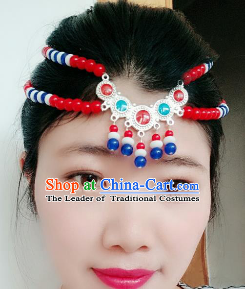 Chinese Traditional Mongol Stage Performance Red Beads Tassel Hair Accessories, Mongolian Folk Dance Hair Clasp Headwear for Women