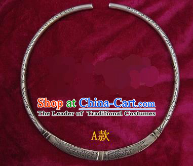 Traditional Chinese Miao Sliver Double Fishes Necklace Hmong Ornaments Minority Necklet for Women