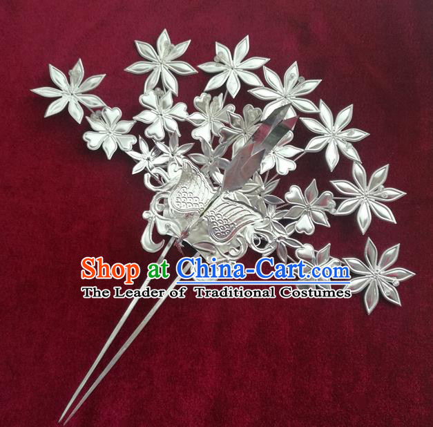 Traditional Chinese Miao Nationality Wedding Phoenix Hair Clip Hanfu Sliver Hairpins Hair Accessories for Women