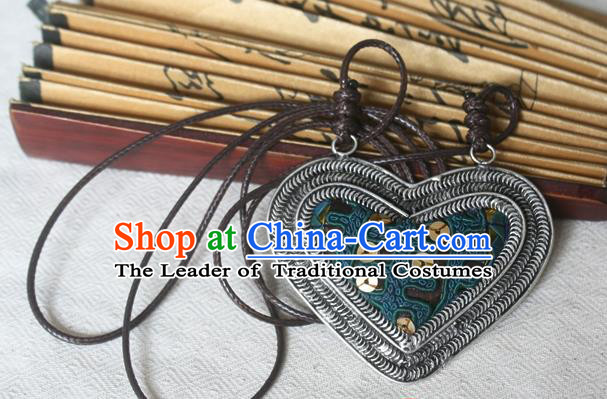 Traditional Chinese Miao Sliver Embroidered Necklace Hmong Ornaments Minority Sweater Chain for Women
