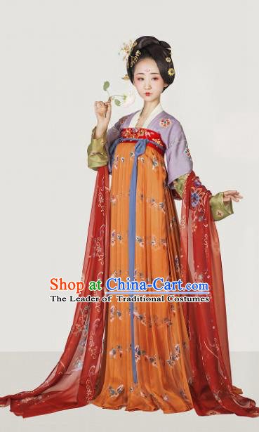 Chinese Ancient Maidenform Hanfu Dress Tang Dynasty Palace Lady Embroidered Costumes for Women