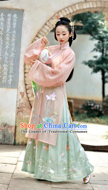 Chinese Ancient Traditional Ming Dynasty Princess Embroidered Lotus Costumes for Women