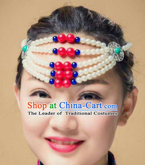 Chinese Traditional Mongol Stage Performance Hair Accessories, Mongolian Folk Dance White Beads Headwear for Women