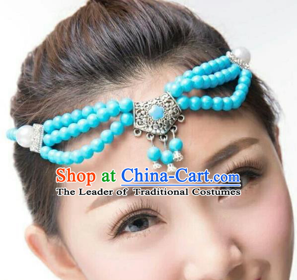 Chinese Traditional Mongol Stage Performance Blue Beads Hair Accessories, Mongolian Folk Dance Headwear for Women