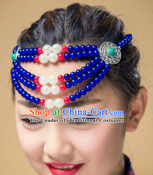 Chinese Traditional Mongol Stage Performance Hair Accessories, Mongolian Folk Dance Blue Beads Headwear for Women