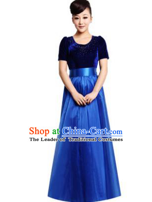 Professional Chorus Singing Group Stage Performance Costume, Compere Modern Dance Royalblue Dress for Women