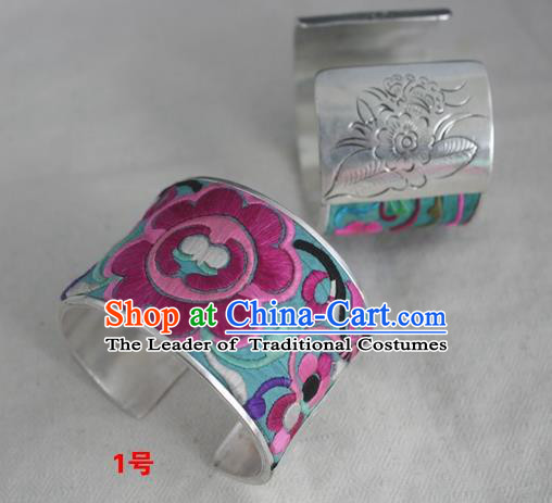 Handmade Chinese Miao Nationality Embroidered Flowers Bracelet Traditional Hmong Sliver Bangle for Women
