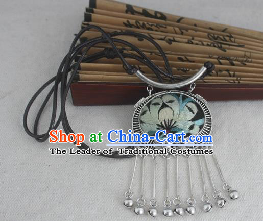 Chinese Miao Sliver Traditional Embroidered Necklace Hmong Ornaments Minority Bells Tassel Longevity Lock for Women