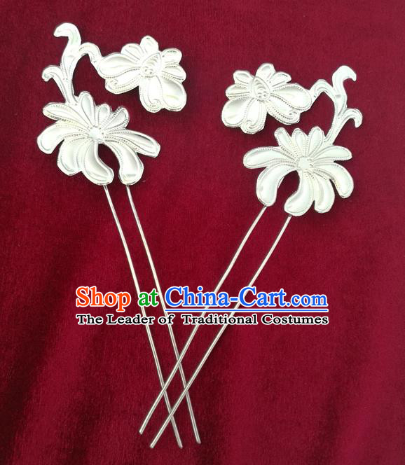 Traditional Chinese Miao Nationality Hair Clips Hanfu Sliver Hairpins Hair Accessories for Women