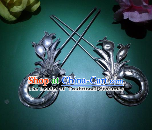 Chinese Traditional Miao Nationality Hair Accessories Miao Sliver Pomegranate Flower Hairpins Headwear for Women