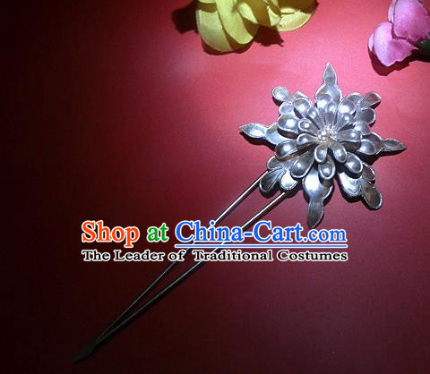 Chinese Traditional Miao Nationality Hair Accessories Miao Sliver Flower Hairpins Headwear for Women