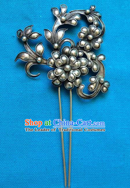 Chinese Traditional Miao Nationality Hair Accessories Minority Hair Clip Hairpins Headwear for Women