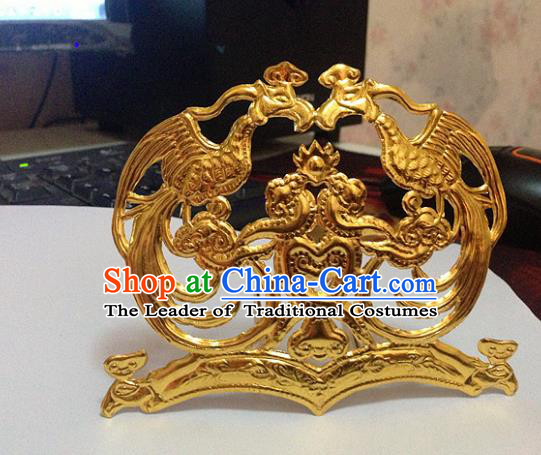 Traditional Chinese Miao Nationality Golden Phoenix Coronet Hanfu Hairpins Hair Accessories for Women