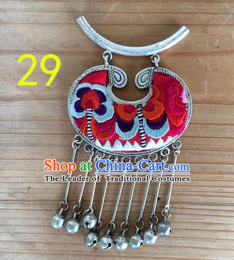 Chinese Traditional Miao Sliver Longevity Lock Hmong Ornaments Accessories Minority Necklace Pendant for Women