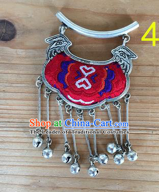 Chinese Traditional Miao Sliver Ornaments Accessories Longevity Lock Red Necklace Pendant for Women