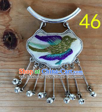 Chinese Traditional Miao Sliver Ornaments Accessories Longevity Lock Embroidered Bird Necklace Pendant for Women