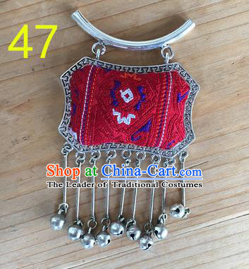 Chinese Traditional Miao Sliver Ornaments Accessories Longevity Lock Embroidered Red Necklace Pendant for Women