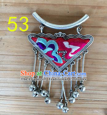 Chinese Traditional Miao Sliver Ornaments Accessories Embroidered Rosy Longevity Lock Necklace Pendant for Women