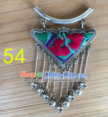 Chinese Traditional Miao Sliver Ornaments Accessories Embroidered Green Longevity Lock Necklace Pendant for Women